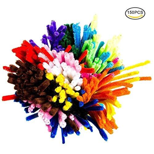 G2PLUS Pfeifenreiniger 150 Stück Chenilledraht 6 MM * 30 CM Biegeplüsch für Kinder zum Basteln und Dekorieren (150 PCS-15 Farben)