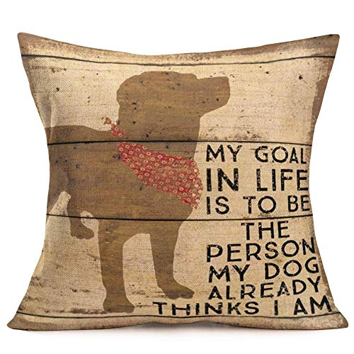 Art Cute Animal Pet Dog Shadow Pattern Throw Pillow Covers Retro Wooden Background with Inspirational Quote Cushion Cover Home Decor (Vintage Pet Dog) 16' X 16'(IN)