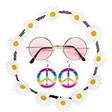 con Banda del Pelo, Pendientes y Gafas Set Disfraz Hippie Outfit años 60 Accesorio Moda Mujer Complemento Cabello Flower Power Accesorio Disfraz sesentero