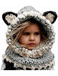 DAYAN hiver laine tricotée Fox Chapeaux bébés filles Écharpes capuche Cowl Beanie Caps