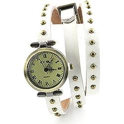 Armbanduhren Quarz Analog Römischen Ziffern Leder Modeschmuck Uhr Damen rund Nägel Mattie Weiß Geschenk Unisex