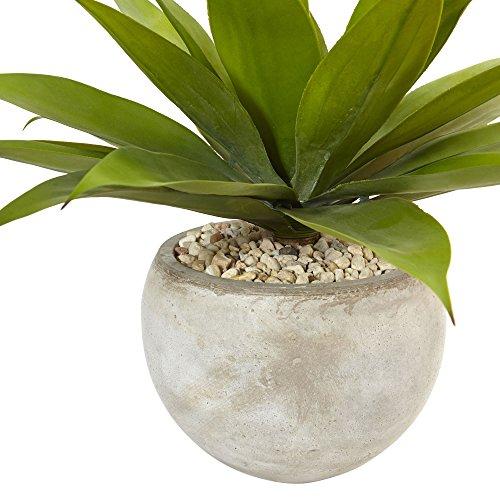 Fast natur 61cm Agave Kunstpflanze in sand farbigen Schale, Grün