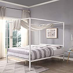 Sleep Design Chalfont White Four Poster Metal Bed Frame Single Double King Sizes