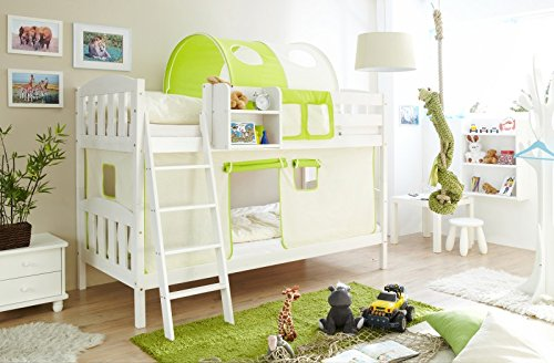 Etagenbett Sunny inkl Vorhang Kiefer massiv weiß EN 747-1 + 747-2 Stockbett Doppelbett Spielbett Kinderbett Bett Kinderzimmer Hochbett