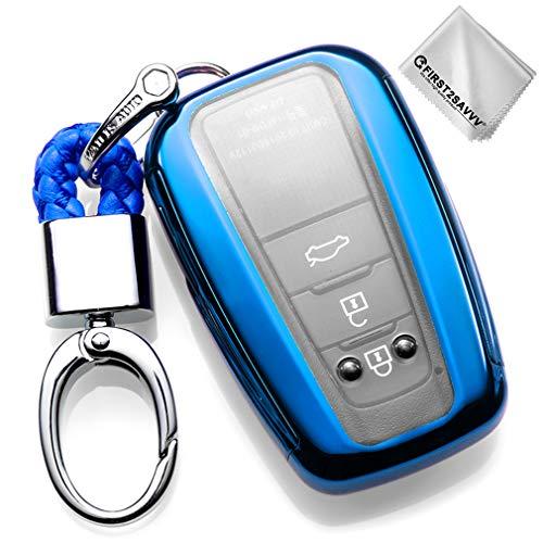 Key Protection Shell Auto Schlüssel Hülle Key Cover Case Etui Silikon mit Schlüsselanhänger Für 2018 2019 Toyota Camry Corolla Avalon Prius C-HR RAV4 Blau -3 4 Buttons