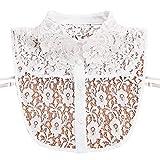 ZOOMY Girocollo Donna Falso Colletto Staccabile Ricamato Pizzo Floreale Mezzo Camicia Cravatta Pulsante Abbigliamento-Bianco
