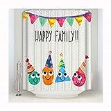 Knbob Duschvorhang Antischimmel Waschbar Glückliche Familie Glückliche Familie Shower Curtain 152X183CM Duschvorhangringe Für Badezimmer Badezimmer Vorhänge