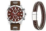 Mini Focus Fashion Classic Analog Quarz Uhren für Männer Silikon Band Gurt für Herren 22mm auf Verkauf mit gratis Leder Armband (braun)