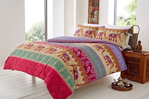 styleliving @ New Elefant indischen Animal Wende Poly Baumwolle Bettwäsche Set mit Kissen Fällen, multi, Super King