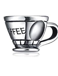 Plata de ley silverworks Charms Thai Plata Craft cuentas en forma de taza de café