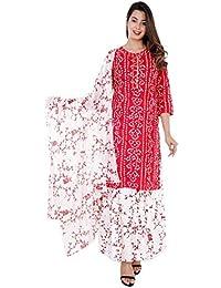 Sunrise Paridhan Women's Rayon Kurti With Palazzo Pant And Full Golden Print Work Red Dupatta Set Women & Girls.