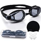 Elite O&S Lunettes de natation étanches, antibuées avec protection UV, étui et bonnet de bain en silicone, Noir