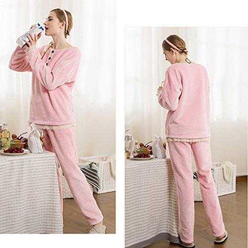 GWELL Ensemble de Pyjama Femmes Vêtement de Nuit Polaire Flanelle Doux Chaud Chambre Manches Longues Hiver Rose 1#