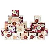 Papierdrachen DIY Adventskalender Kisten Set - Motiv Rehe in Beerenfarben - 24 Bunte Schachteln aus Karton zum Aufstellen und zum Befüllen - 24 Boxen - Weihnachten 2018