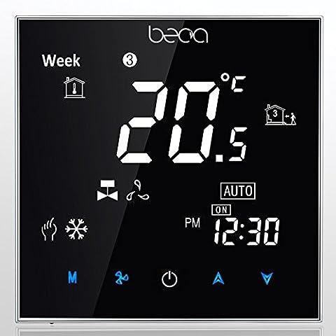 BECA 95 ~ 240VAC Zwei Pipe Fan Coil Controller LCD Negative Black Screen Wochenprogrammierbare Zentrale Klimaanlage Raum Thermostat