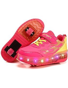 Viken Azer-UK Ruedas Ajustables LED Zapatillas con Luces Ruedas Color Deporte Zapatos de Skate Roller Deportivos...