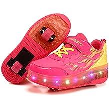 ❤❤❤Ruedas Ajustables LED Zapatillas con Luces Ruedas Color Deporte Zapatos de Skate Roller