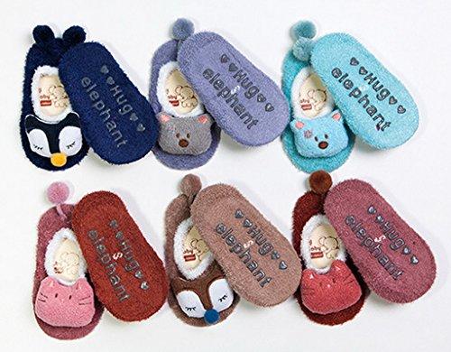 Bigood Chausson Antidérapant Bébé Enfant Chaussette Animaux Coton Chaussettes Hiver Chaudes Café Chat
