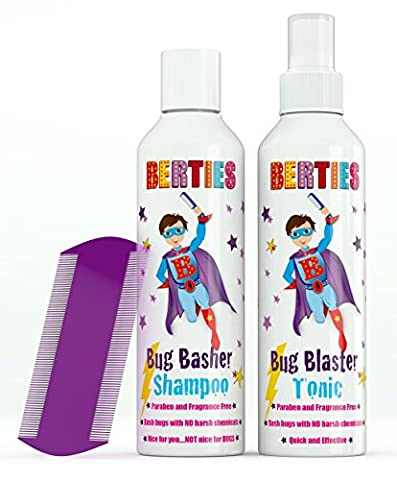 Bertie's Bug Basher - Natural Head Lice Tonic and Shampoo For Children - Head Lice Comb Included