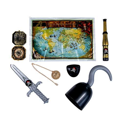 Trixes Dekorative Accessoires für das Piratenkostüm Ihres Kindes, Kostüm Zubehör, Handhaken, Dolch, Augenklappe, Schatzkarte, Fernglas, Kompass, - Pirat Jack Kostüm