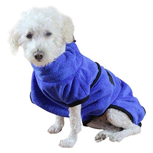 Hundehandtuch, Legendog Schnelltrocknende Verstellbaren Microfiber Pet Bademantel Unter dem Bauch Bad Handtuch Hundehandtuch Hund Katze Warm Decke Hund Katze Kostüm Dog Robe Blau ()