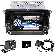 """Camecho doble DIN 7""""coche CD reproductor de DVD estéreo GPS pantalla táctil estéreo de coche Radio para VW Passat Golf Transporter T5+ 4LED Mini cámara visión nocturna"""