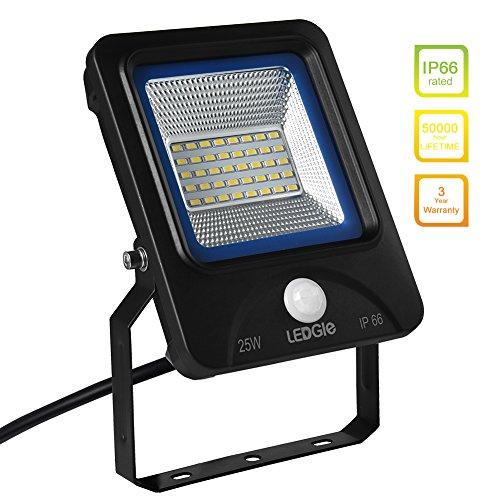 LEDGLE 25W Projecteur LED Détecteur de Mouvement IP66 Imperméable 2000 Lumens Équivalent à Lampes Halogènes 200W Éclairage Extérieur/Intérieur pour Jardin/Couloir/Cour-6000K