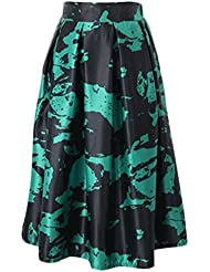 Jupe Mode Féminin imprime floral taille haute plissée Bouffant robe longue