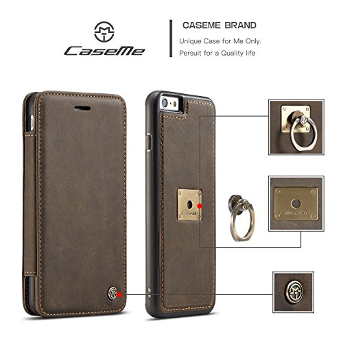 Wkae CaseMe Wallet Case mit abnehmbarem Slim Soft Back Case, CaseMe H Serie, Metall Leder, Vollschutz, Finger Ring Halter, Touchable Screen Leder Tasche für iPhone 7 ( Color : Coffe ) Coffe
