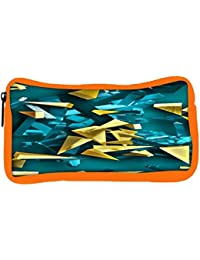 Snoogg Eco Friendly Canvas Golden And Blue Pieces Designer Student Pen Pencil Case Coin Purse Pouch Cosmetic Makeup...