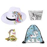 Filles Unicorn Gifts Prizes Pack, 4pcs / set Unicorn Birthday Choice Inclure de licorne Weave Beach Hat, licorne sac de maquillage, Licorne Drawstring sac à dos, Licorne Anneau titulaire de téléphone, Meilleur pour la licorne Fournitures de fête Faveurs de fête et de la licorne Cadeaux d'anniversaire