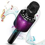 Micrófono Karaoke Bluetooth Inalambrico con Modo Dueto Luces Led 7 colores Para Fiestas Microfonos infantiles para niños niñas o amigos Compatible con IOS Android Windows (Negro)