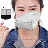 Pack of 3 Adult Face Mouth PM 2.5 Protection Gauze Mask Activated Carbon Breathing Valve Mask Reusable Respirator Anti Dust Fog Haze Virus Flu Plain Cotton 3D Shape With Adjustable Earloop, Grey