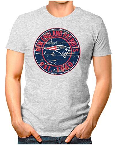 OM3® - New-England-Badge - T-Shirt   Herren   American Football Shirt   M, Grau Meliert - Tshirt Gronkowski Rob