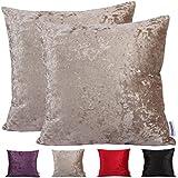 Comoco® -2pcs color sólido funda para cojín decorativo para sofá de pana de grosor disponible en 4colores y 7tamaños, beige, 45 x 45cm