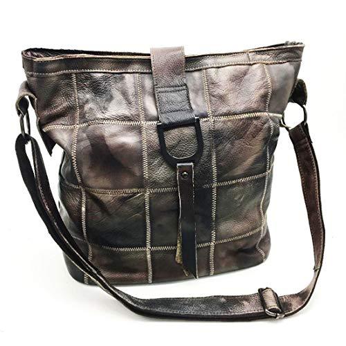 WEATLY Echtes Leder Diagonal Bag Schulter Leder Rindsleder Unisex Editor's Bag Business Schulter Große Kapazität Retort & Mens (Farbe : Kaffee) -