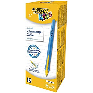 BIC Kids–Bolígrafo infantil con mecanismo retráctil para estudiantes–Azul Tinta/Azul barril (Pack de 12)