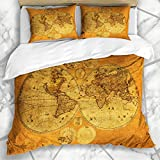 Soefipok Bettwäschesets Afrika Antike Alte Weltkarte Armenien Globus Vintage Osten Mittlere Kontinente Asien Mikrofaser Bettwäsche mit 2 Kissenbezügen