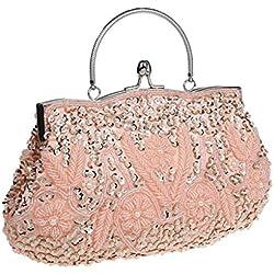Bolso al hombro para mujer - Bolso de Tarde Flores Retro Beaded Bolso de Embrague Bolso Bolsa de Embrague Bolso de Fiesta Boda (Pink)