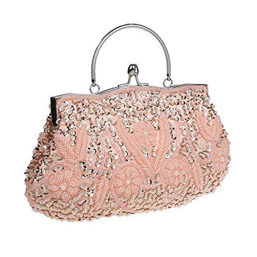 HONGCI Damen Abendtasche - Wulstige Elegante Blumenmuster Retro Handtasche Umhängetasche Abendtasche Party Prinzessin Clutch Satin Schnappverschluss Abendkleid Party Abend-Handtasche (Rosa) (Abend-handtasche Rosa)