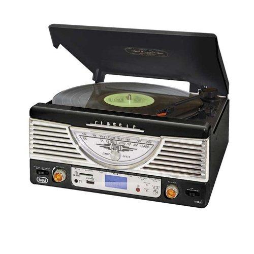 Trevi TT 1062E - Tocadiscos de diseño retro años 50 con entrada USB,