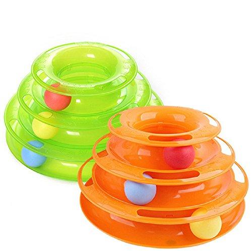 Panlom® Juguete de tres capas de torre inteligente para gato (naranja)