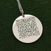 925 Silber QR Code Halskette Mit Rundem Anhänger- mit Ihrem individuellen QR-Code Geschenkidee