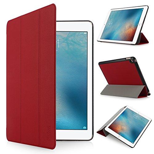 iHarbort® iPad Pro 9.7 Hülle - Premium PU Leder Tasche Hülle Etui Schutzhülle Ständer Smart Cover für iPad Pro 9.7, mit Schlaf/Wach-up-Funktion (iPad Pro 9.7, Rot)