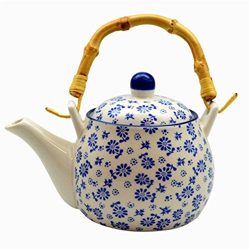 Nicola Spring Théière/cafetière avec Motifs de Marguerites Blanches et Bleues et poignée en Bambou. 500 ML (17,5 oz)