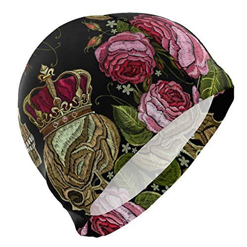 Kurze Crown Caps (Gebrb Badekappe/Schwimmkappe/Bademütze, Swim Cap Skull with Crown Rose Mens Swimming Cap Boy Adult Teen Swimming Hat No-Slip)