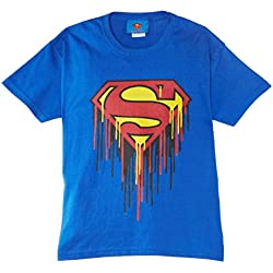 DC Comics DC Comics Official Superman Drip Logo-camiseta Niñas , azul real, 12-13.5 (Manufacturer Size:12-13 Years/34-36 inches Chest)