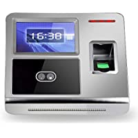 KKmoon Face Fingerprint Password Attendance Machine Employee Checking-in Payroll Recorder TCP/IP 4.3 inch HVGA Screen DC 12V Facial Recognition Attendance