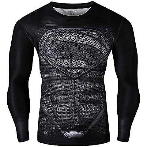 Tight CT28 stampa 3D, colore: nero, Maglietta a compressione, a maniche lunghe, strato base per Sport Fashion