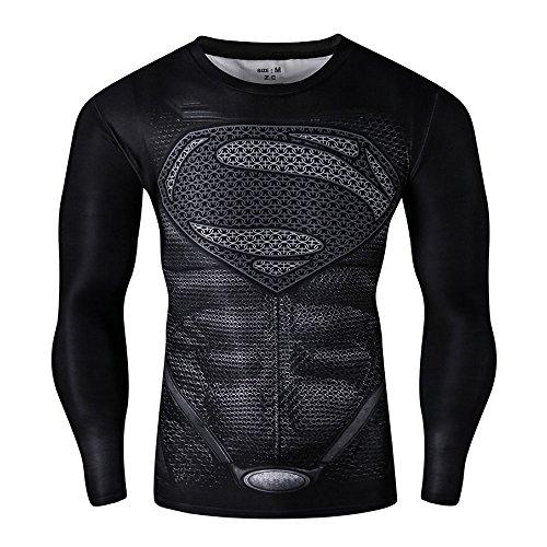 CT28 3D Druck Schwarz Fest Kompression Langarm-Shirt Grundschicht für Sport Fashion (L, Superman Black B Long)